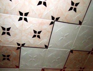 Поклейка потолочной плитки по диагонали